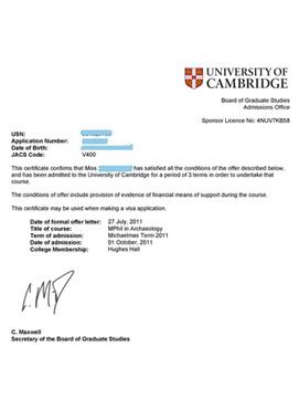 医学生物工程专业申请英国剑桥大学医学博士邀请函offer图片